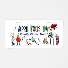 April Fools Day Picnic Aluminum License Plate