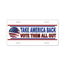 VOTE THEM OUT Aluminum License Plate