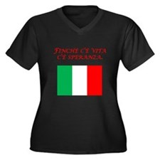 Italian Proverb Hope Women's Plus Size V-Neck Dark