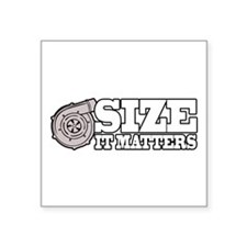 "Size Matters Square Sticker 3"" x 3"""