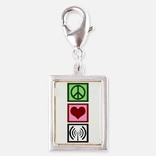 Peace Love Radio Silver Portrait Charm