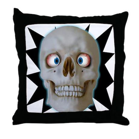 Halloween Cross-Eyed Skull Throw Pillow