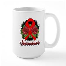 AIDS HIV Survivor Rose Tattoo Mug
