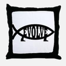 Evolve Fish Symbol Throw Pillow