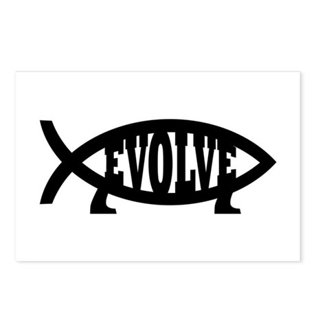 Evolve Fish Symbol Postcards (Package of 8)