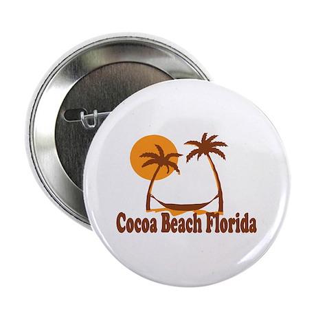 "Cocoa Beach - Palm Trees Design. 2.25"" Button"