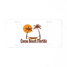 Cocoa Beach - Palm Trees Design. Aluminum License