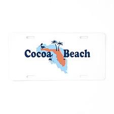 Cocoa Beach - Map Design. Aluminum License Plate