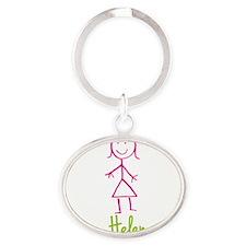 Helen-cute-stick-girl.png Oval Keychain