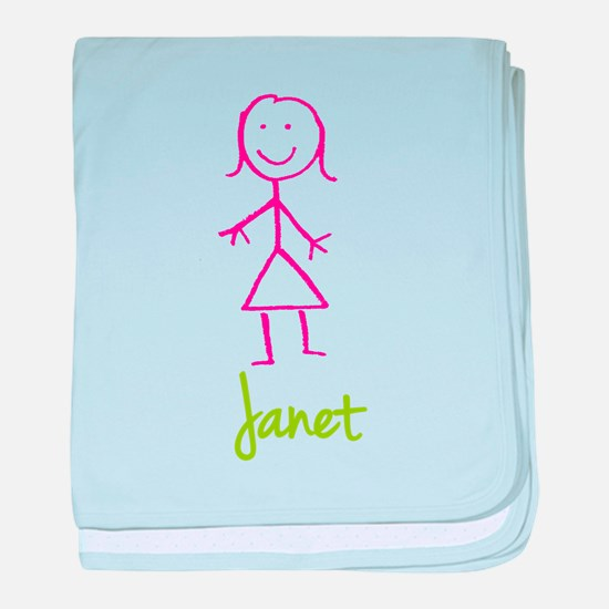 Janet-cute-stick-girl.png baby blanket
