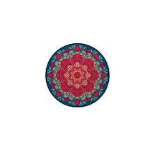 red lotus mandala Mini Button
