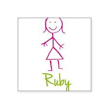 "Ruby-cute-stick-girl.png Square Sticker 3"" x 3"""