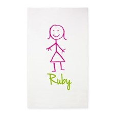 Ruby-cute-stick-girl.png 3'x5' Area Rug