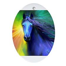 Unique Fresian horse Ornament (Oval)