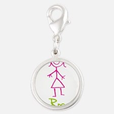 Rosa-cute-stick-girl.png Silver Round Charm
