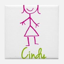 Cindy-cute-stick-girl.png Tile Coaster