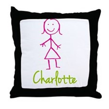 Charlotte-cute-stick-girl.png Throw Pillow