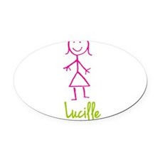 Lucille-cute-stick-girl.png Oval Car Magnet