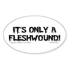 Fleshwound (black) Oval Decal