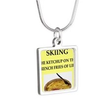skiing Silver Square Necklace