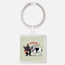 French Kiss Square Keychain