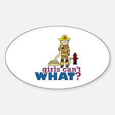 Firefighter Girls Sticker (Oval)