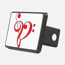 I love music, red heart with music notes Rectangul