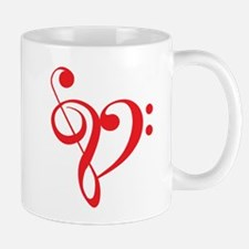 I love music, red heart with music notes Mug