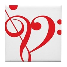 I love music, red heart with music notes Tile Coas