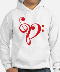 I love music, red heart with music notes Hoodie