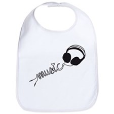 headphone silhouette with music Bib