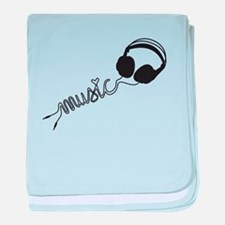 headphone silhouette with music baby blanket