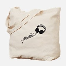 headphone silhouette with music Tote Bag
