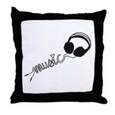 headphone silhouette with music Throw Pillow