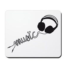 headphone silhouette with music Mousepad