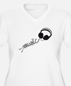 headphone silhouette with music T-Shirt