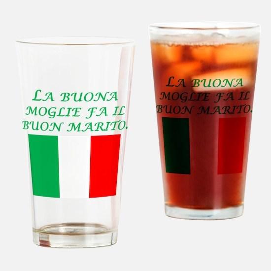 Italian Proverb Good Wife Husband Drinking Glass