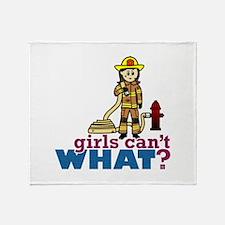 Woman Firefighter Throw Blanket