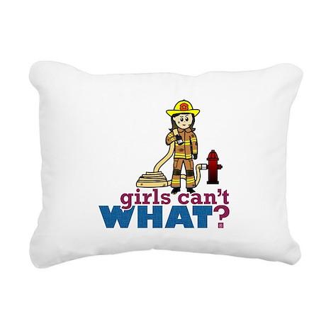 Woman Firefighter Rectangular Canvas Pillow