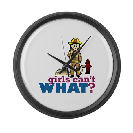 Woman Firefighter Large Wall Clock