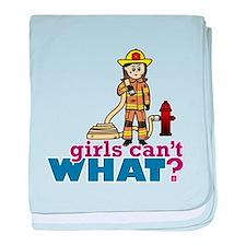 Woman Firefighter baby blanket