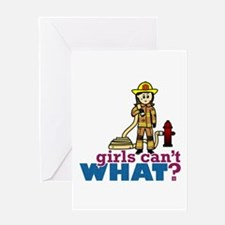 Woman Firefighter Greeting Card