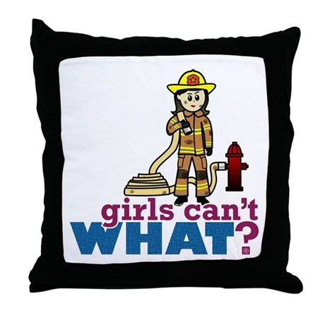 Woman Firefighter Throw Pillow