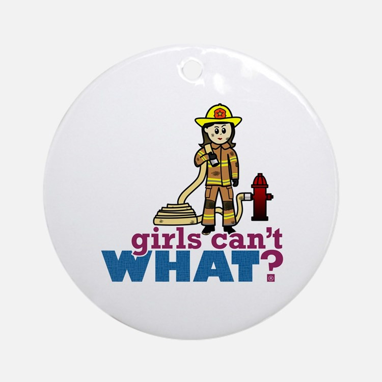 Woman Firefighter Ornament (Round)