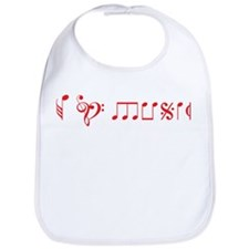 I love music, written with music notes Bib