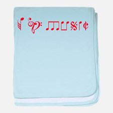 I love music, written with music notes baby blanke