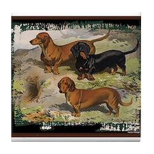 Antique Dachshund Doxie Tile Coaster