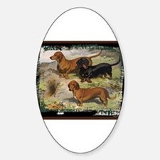 Antique Dachshund Doxie Oval Decal