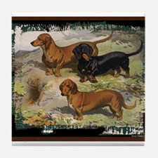 Antique Dachshund Doxie Tile Coaster