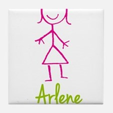 Arlene-cute-stick-girl.png Tile Coaster